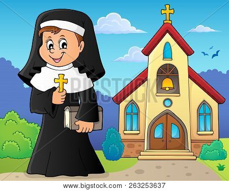 Happy Nun Topic Image 2 - Eps10 Vector Picture Illustration.