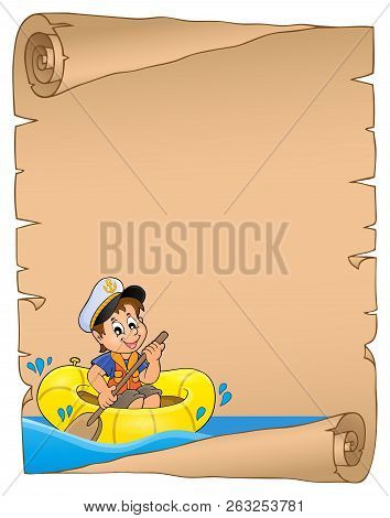 Parchment With Boy In Boat On Water - Eps10 Vector Picture Illustration.