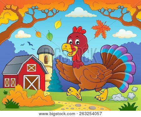 Running Turkey Bird Theme Image 4 - Eps10 Vector Picture Illustration.