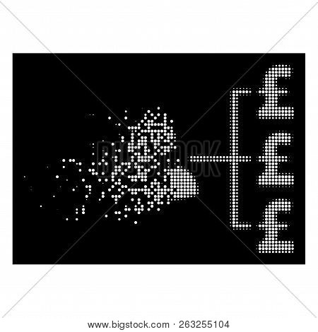 Banker Pound Payments Icon With Dissolving Style On Black Background. White Pieces Are Composed Into