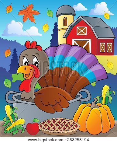 Turkey Bird In Pan Theme Image 2 - Eps10 Vector Picture Illustration.