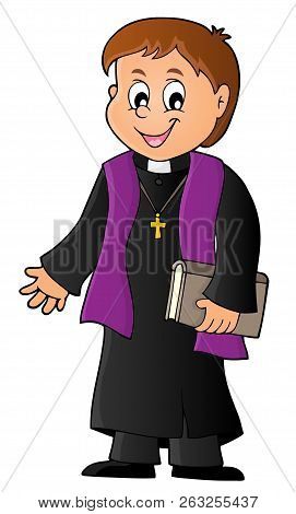 Young Priest Topic Image 1 - Eps10 Vector Picture Illustration.