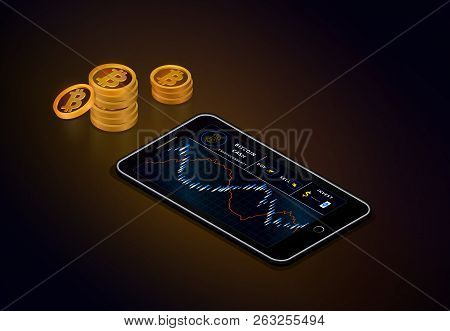 Smartphone With Bitcoin Cash Chart On Screen And Piles Of Gold Bitcoin Cash Coins. Сryptocurrency Tr