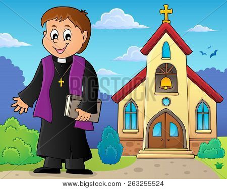 Young Priest Topic Image 3 - Eps10 Vector Picture Illustration.