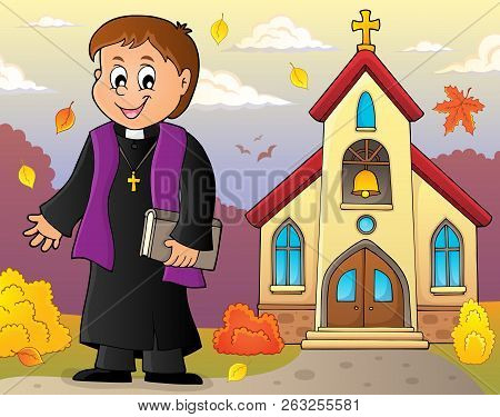 Young Priest Topic Image 4 - Eps10 Vector Picture Illustration.