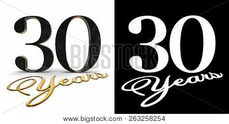 Golden Number Thirty (number 30) And The Inscription Years With Drop Shadow And Alpha Channel. 3d Il