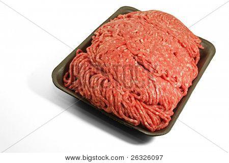 Fresh ground beef on a styrofoam tray.