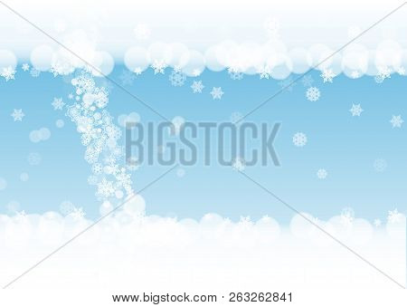 snow border with white snowflakes on horizontal winter background merry christmas and happy new year snow border for season sales banners invitations