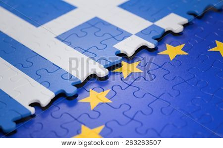 Flag Of The Greece And The European Union In The Form Of Puzzle Pieces In Concept Of Politics And Ec