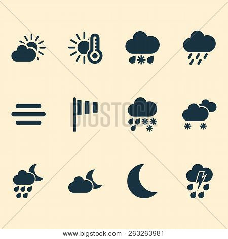 Air Icons Set With Deluge, Vane, Weather And Other Moon Elements. Isolated Vector Illustration Air I