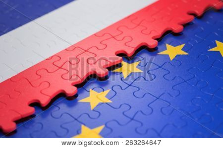 Flag Of The France And The European Union In The Form Of Puzzle Pieces In Concept Of Politics And Ec