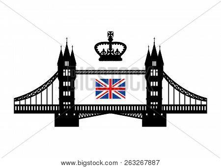 Vector Illustration Symbolizing The Uk. Tower Bridge, Royal Crown And Flag. Eps 10