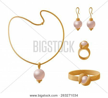 Necklace with huge pearl, elegant earrings, stylish rings golden female accessories isolated on white vector pretty wealth chain, expensive chaplet poster
