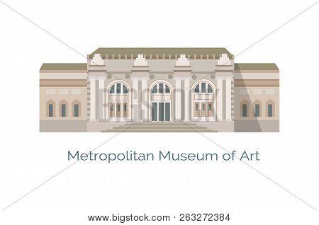 Metropolitan Museum Of Art In New York, Called Met, Largest In United States, Vector Illustration Of