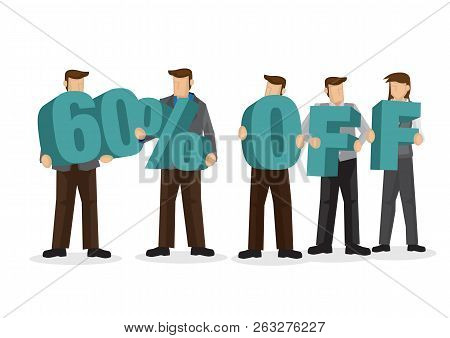 Group Of Business People Holding Giant Alphabet To Form 60 Percentage Off. Concept Of Promotion, Tea
