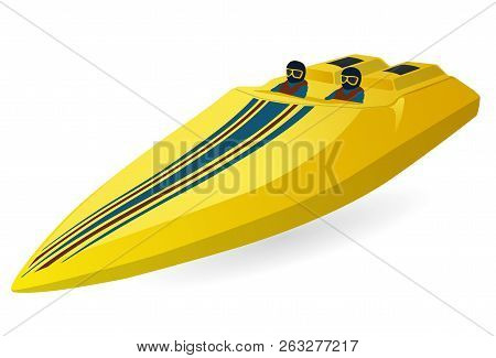 Race Sports Boat. Luxury Expensive Yellow Motorboat, Luxurious Powerboat, Deluxe Speedboat. Vector I