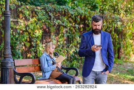 Dating Application Concept. Application For Search Partner Romantic Relations. Man With Beard Hold S