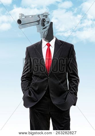 Business Man With Gun Instead Of Head, 3d Illustration