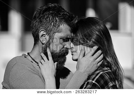 Romance And Dating Concept. Man And Woman With Passionate Faces