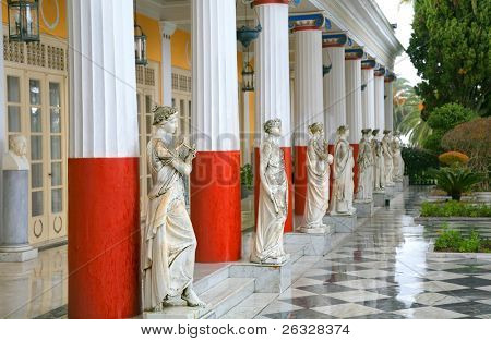 Sculptured Greek influenced figures on the grounds of the Achillion Palace on the island of Corfu.