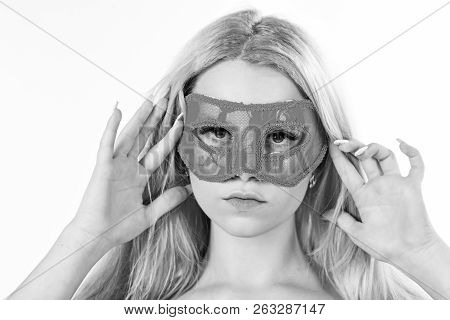 Girl With Long Blonde Hair Wears Mask. Lady With Long White Manicure Hold Mask On Face, White Backgr