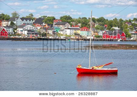 View of the harbour and waterfront of Lunenburg, Nova Scotia, Canada. Lunenburg is a historic port town in Nova Scotia that was designated as a UNESCO World Heritage Site in 1995.