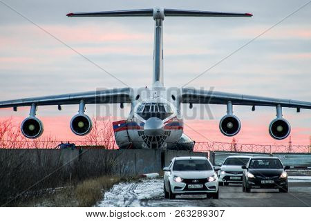 Novyy Urengoy, Russia - October 14, 2018: Emercom Ilyushin Il-76md In The Novyy Urengoy Internationa