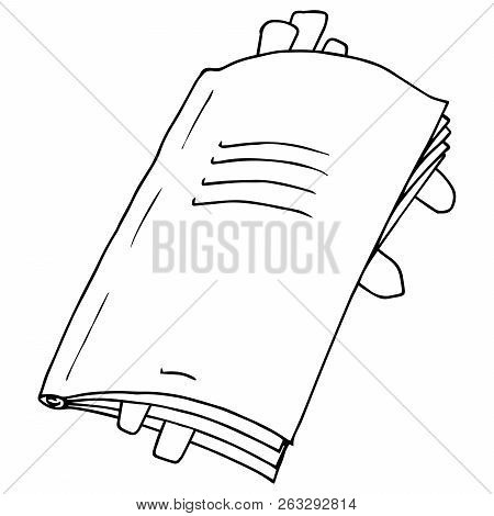 Notebook With Bookmarks. Vector Illustration Notebook. Hand Drawn Notebook.