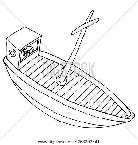 Boat. Vector Of A Cartoon Boat. Hand Drawn Wooden Old Boat.