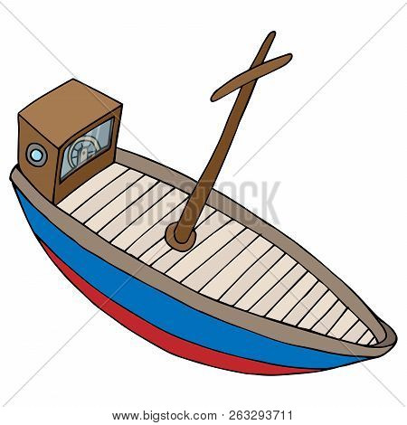 Boat Icon. Vector Illustration Of A Cartoon Boat, Steamboat. Hand Drawn Wooden Boat, Vintage Ship.
