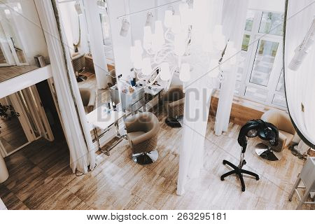 Fashion Workplace. View From Above Beauty Salon. Fashion Salon. Luxury Design. White Interior In Spa
