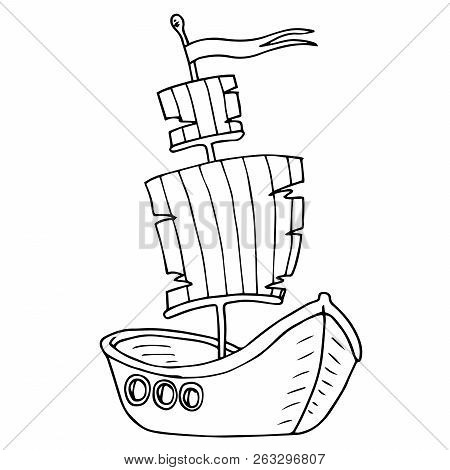 Boat Icon. Vector Illustration Of A Cartoon Boat. Hand Drawn Wooden Boat, Vintage Ship.