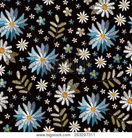 Embroidery Floral Seamless Pattern. Beautiful Blue And White Cornflowers, Daisies And Forget Me Not