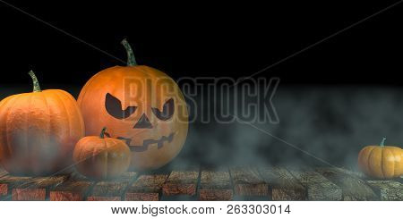 Lanterns Glowing At Moonlight In The Spooky Night - Halloween Scene, 3d Rendering