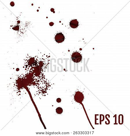 Set Of Various Dripping Blood Splashes, Collection Of Dripping D