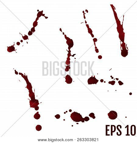 Collection Various Blood Or Paint Splatters,halloween Concept,in