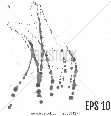 Grey Paint Ink Splash, Isolated On White Background. Vector Spla