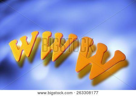Www Symbol On A Dark Blue Background