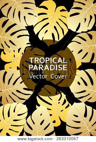 Tropical Paradise Gold Leaf Vector Cover. Cool Floral A4 Page Design. Exotic Tropic Plant Leaf Vecto