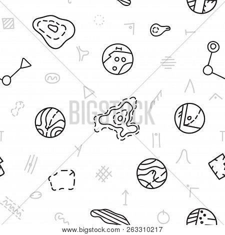 Vector Seamless Pattern Illustration Of Sport Orienteering Isolated Topo Symbols And Landmark Object