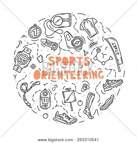 Vector Illustration Of Sport Orienteering Isolated Elements: Control Point, Compass, Card, Map, Clot