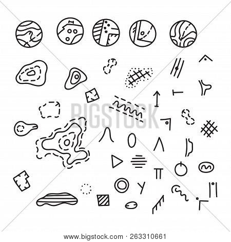 Vector Illustration Of Orienteering Map Signs. Large Set Of Map Isolated Topo Symbols And Landmark O