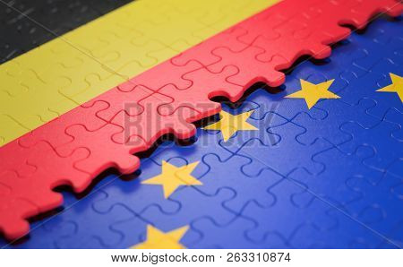Flag Of The Belgium And The European Union In The Form Of Puzzle Pieces In Concept Of Politics And E