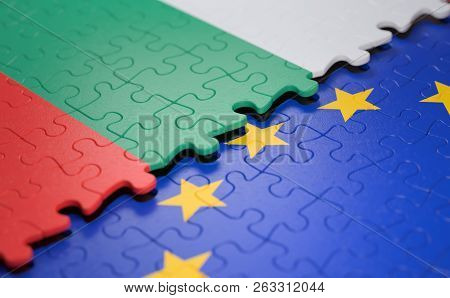 Flag Of The Bulgaria And The European Union In The Form Of Puzzle Pieces In Concept Of Politics And