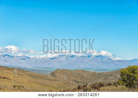 The Landscape On Theronsberg Mountain Pass Near Ceres In The Western Cape Province. Snow Is Visible