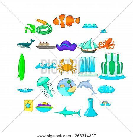 Backwash Icons Set. Cartoon Set Of 25 Backwash Vector Icons For Web Isolated On White Background