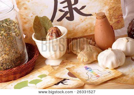 traditionelle alternative Therapie oder Medizin, chinesische Gesundheit Symbol, Chakren; Konzept des gesunden Lebens