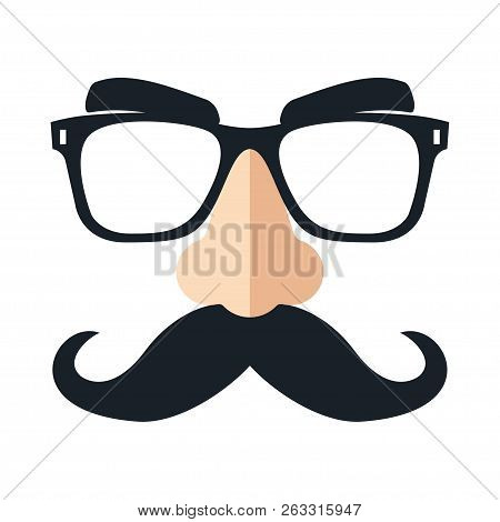 Disguise Mask, Glasses, Nose And Mustache. Funny Glasses Vector Illustration