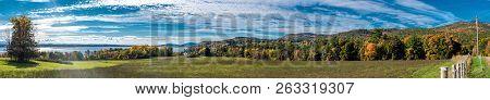 Panoramic View Of An Autumn Scene Near Lake Champlain