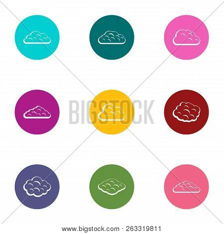 Fog Icons Set. Flat Set Of 9 Fog Vector Icons For Web Isolated On White Background
